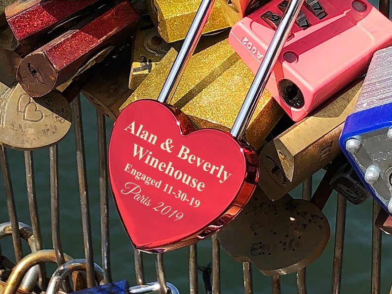 Personalized Love Lock - Red Heart Lock with Key - Personalized Heart Love Padlock - Engraved Love Lock - Engagement Gift 17