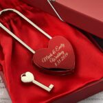Personalized Heart Love Padlock With Key, Gold Love Lock Heart Lock, Custom Lock, Engraved Love Lock, Just Married, Engagement, Wedding Gift 4