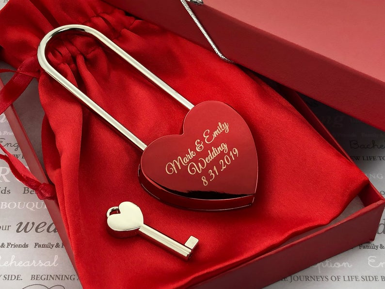 Personalized Love Lock - Red Heart Lock with Key - Personalized Heart Love Padlock - Engraved Love Lock - Engagement Gift 21
