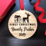 Baby First Christmas Ornament, Personalized Christmas Gift, Engraved Wooden Ornament, Baby First Gift for Christmas, Custom Gift for Baby 4
