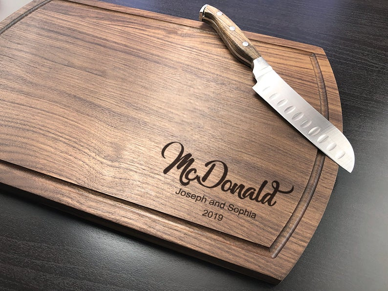 Personalized Cutting Board, Engraved Cutting Board, Walnut Cutting Board, Housewarming Gift, Engagement Gift, Housewarming, Christmas Gift 6